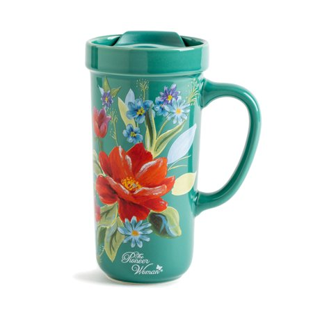 The Pioneer Woman Teal Fl Ceramic Travel Mug With Lid