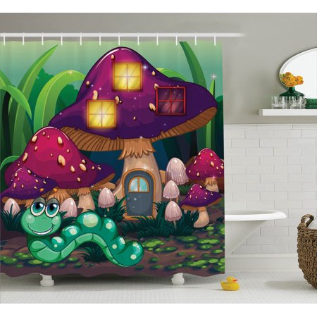 Mushroom Decor Illustration Of A Long Worm Near The