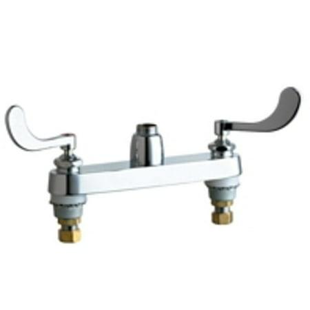 "Chicago Faucets 1100-LES317AB Commercial Grade Kitchen Faucet with 8"" Faucet Centers and Wrist Blade Handles - Less Spout"