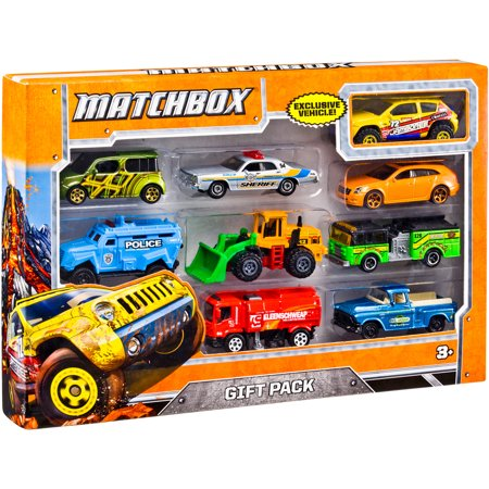 Assorted Matchbox Cars Set includes a variety of Matchbox vehicles for kids to enjoy. Each pack comes with a special, exclusive vehicle that's available nowhere else in the line. This toy car set includes conventional racing cars along with more unique rides such as a tractor and a fire truck. It provides nine toys with a wide range of colors and decorations. This Matchbox cars set is a fun gift for a child that loves motor vehicles and racing toys. Its colorful mix of automobiles can help kids enjoy wild and imaginative play.