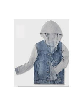 Kids Boys Hat Neck Fashion Denim Jacket