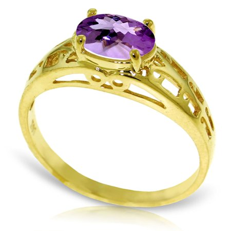 ALARRI 1.15 Carat 14K Solid Gold Filigree Ring Natural Purple Amethyst With Ring Size 9.