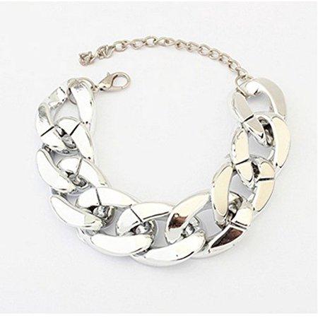 (DragonPad?Shiny Chunky Bracelet Cut Link Curb Chain Golden Tone Bangle Punk Style Jewelry£¨silver£©)