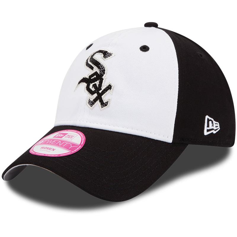 Chicago White Sox New Era Women's Team Glimmer 9TWENTY Adjustable Hat - White/Black - OSFA