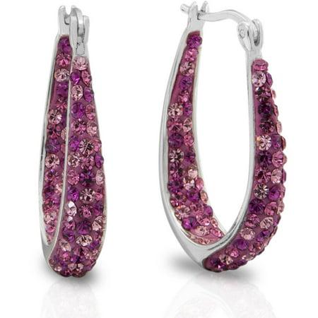 Pink Crystal Fine Silver Tone Hoop Earrings