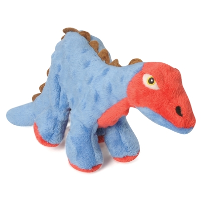 Quaker Pet Group GoDog Dinos 770799 Plush Squeaker Spike The Stegosaurus Dog Toy, Blue, Small