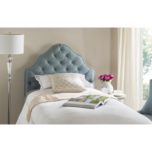 Safavieh Arebelle Sky Blue Upholstered Tufted Headboard Silver Nailhead (Twin) by Overstock