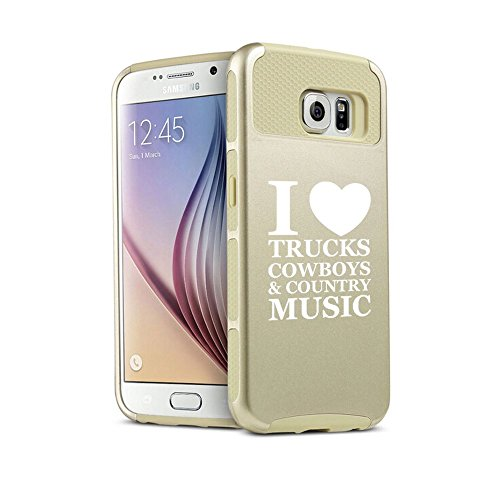 Samsung Galaxy S7 Edge Shockproof Impact Hard Case Cover Love Trucks Cowboys Country Music (Gold ),MIP