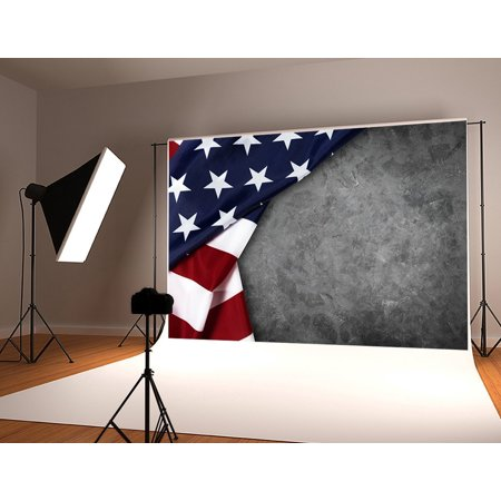 HelloDecor Polyster 7x5ft American Flag Photography Backdrop Grey Stones Wall Photo Background for Photographer Shoot Studio Backdrop Prop - Stone Wall Background