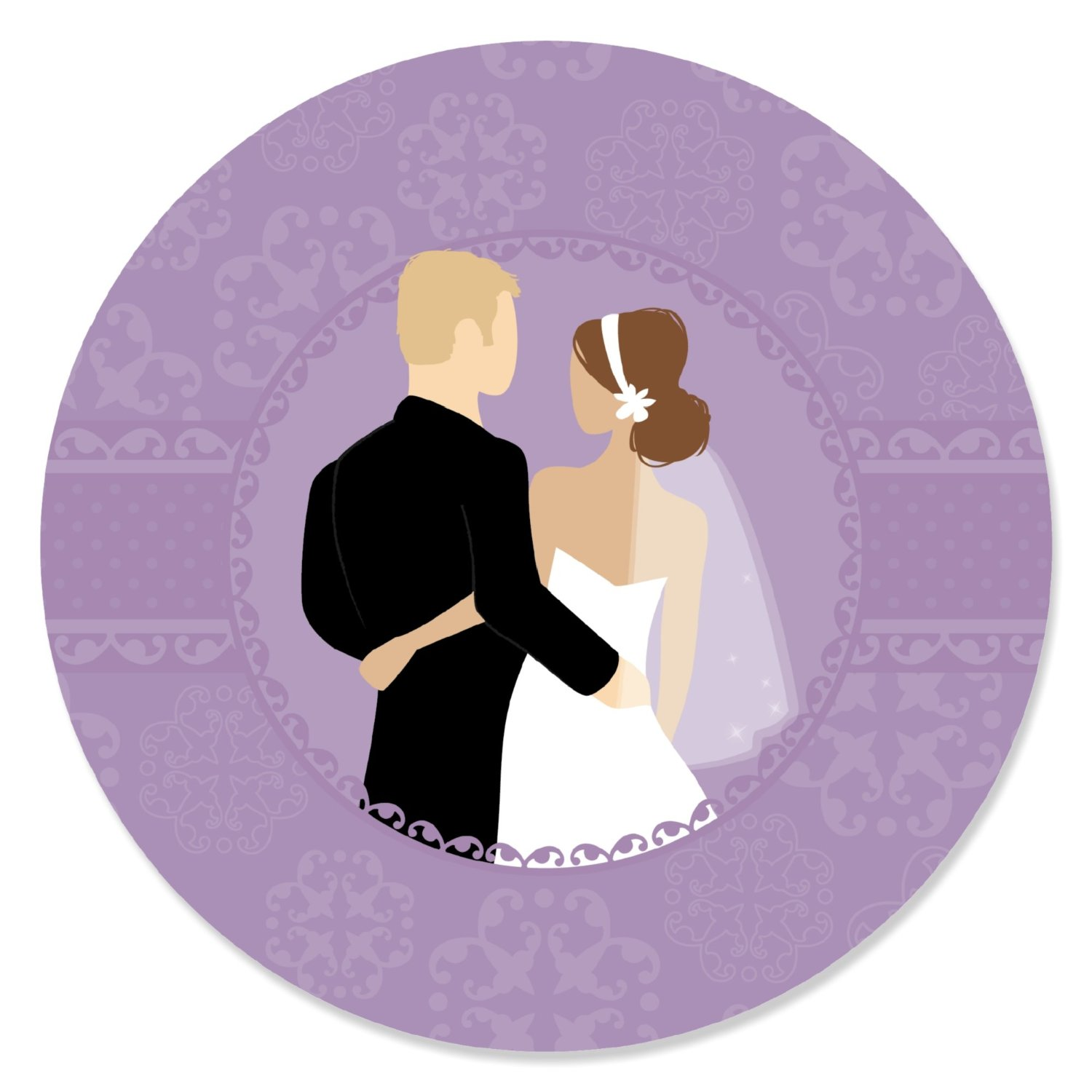 Wedding Couples Purple - Party Circle Sticker Labels - 24 Count