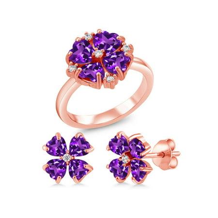 3.41 Ct Purple Amethyst 18K Rose Gold Plated Silver Ring Earrings Set Amethyst Tension Set Ring