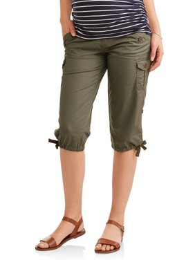 96e182eda86a5 Product Image Maternity Underbelly Stretch Poplin Capri Pants - Available  in Plus Sizes