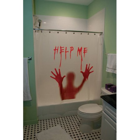 Help Me Bloody Shower Curtain Halloween Decoration - Walmart.com