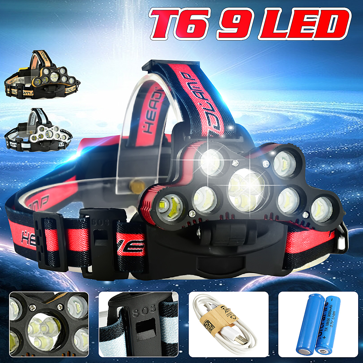 7000LM 9 T6 LED Headlamp USB Rechargeable 18650 Zoomable Headlight Torch Lamp + 2Pcs 18650 Flashlight Battery + USB Cable -SO S Help whistle