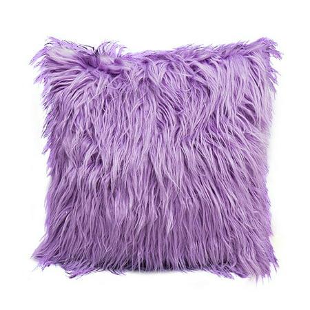 Faux Fur Pillow Cover - Fashion Nordic Posh Style Home Decor Super Soft Plush Mongolian Faux Fur Throw Pillow Cover Cushion Case Pillowcase Square Multi Colors (Purple)