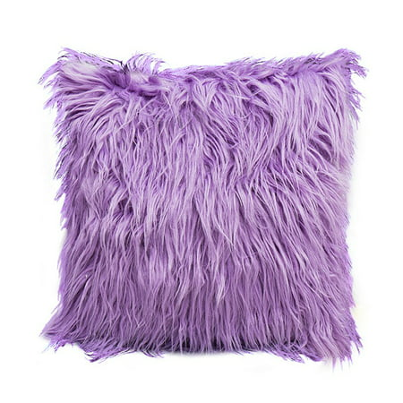 Fashion Nordic Posh Style Home Decor Super Soft Plush Mongolian Faux Fur Throw Pillow Cover Cushion Case Pillowcase Square Multi Colors (Purple) Square Decorator Pillow