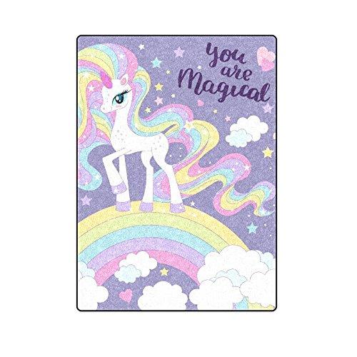 CADecor Lovely Cartoon Rainbow Unicorn With Long Mane Throw Blanket Bed Sofa Blanket 58x80 inches