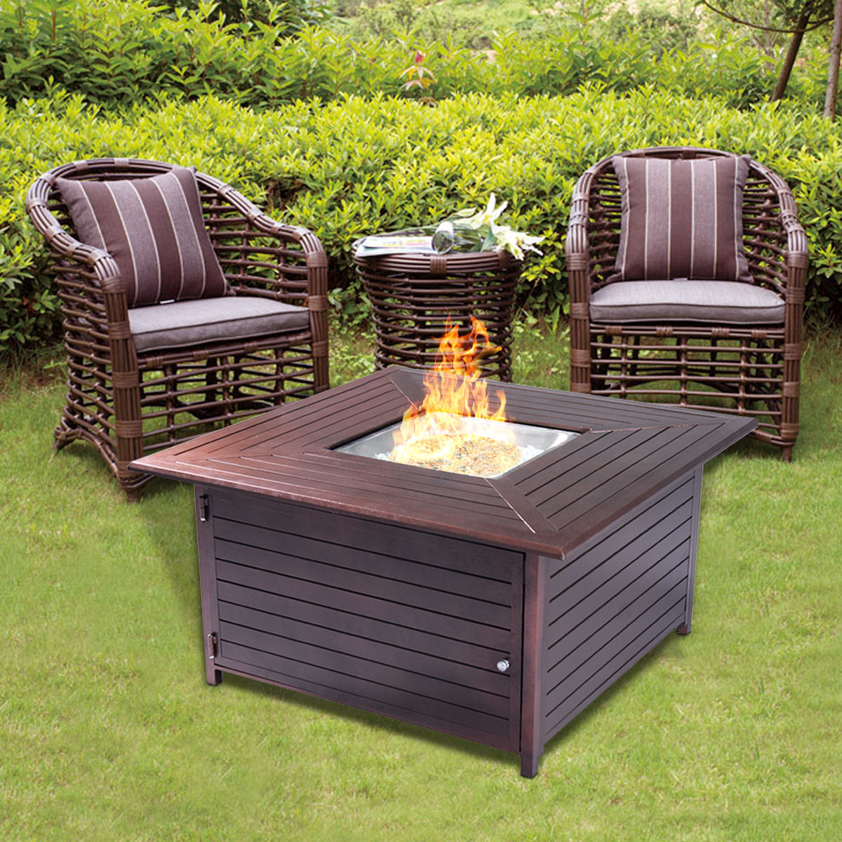 Costway 40000BTU Aluminum Propane Gas Outdoor Firepit Table Stove Furniture W Lid by Costway