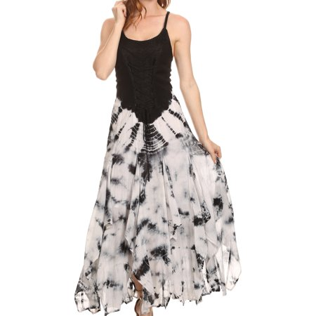 Sakkas Sami Long Sleeveless Spaghetti Strap Handkerchief Hem Dress With Corset Top - Black - - Dress With Handkerchief Hem