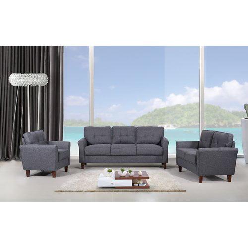 Latitude Run Rosenow Tufted Mid Century 3 Piece Living Room Set