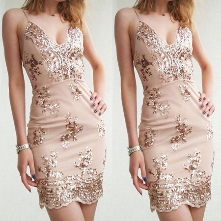 Cute Club Dresses Tumblr (Womens Sequins Spaghetti Strap Dress Sexy V-neck Backless Bodycon Sundress Luxury Party Club Wear Short Mini Dress Gold)