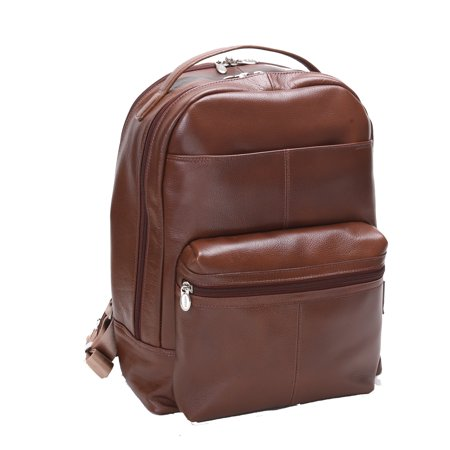 (McKlein PARKER, Leather Dual Compartment Laptop Backpack, Pebble Grain Calfskin Leather, Brown (88554))
