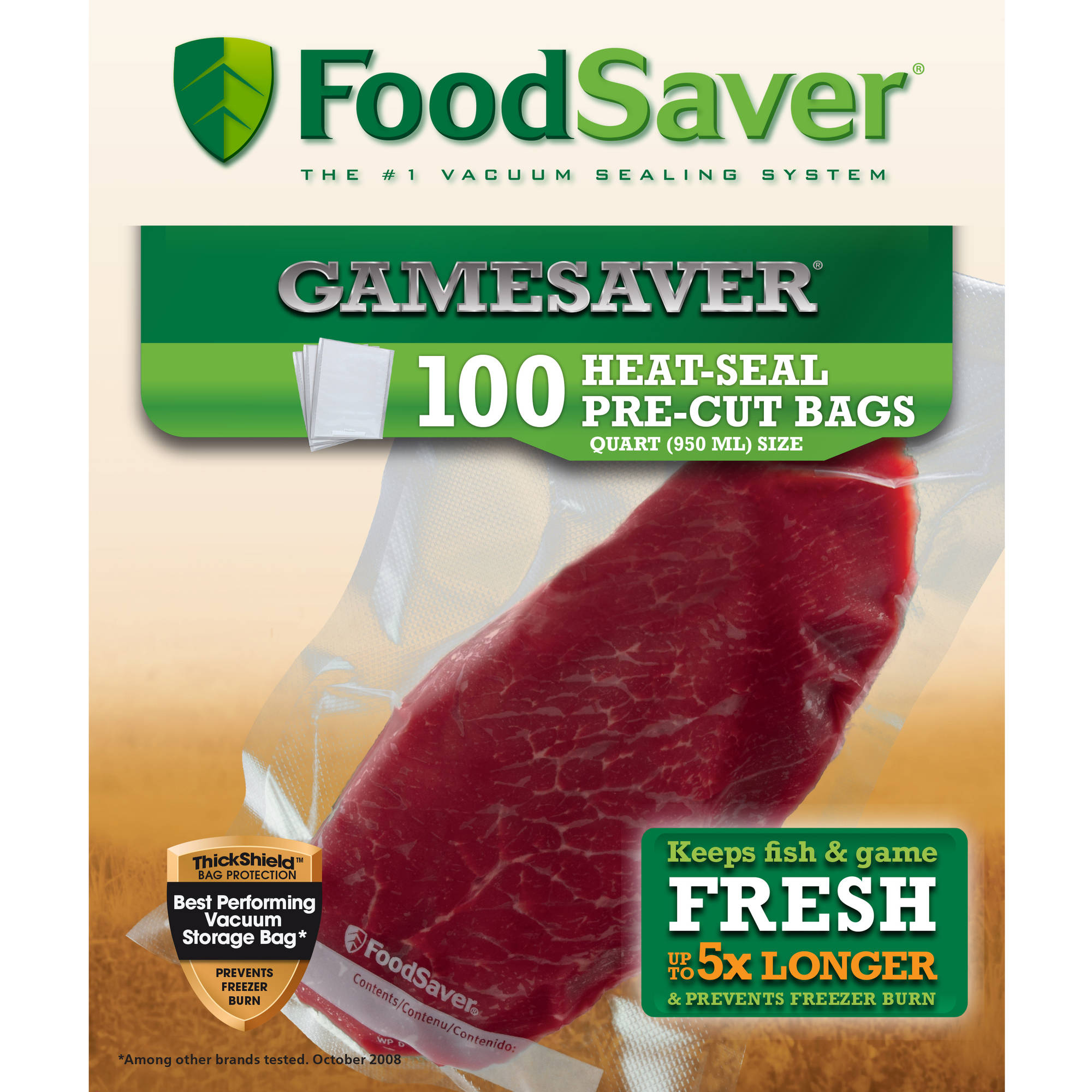 "FoodSaver Sealer Quart Bags 8"" x 11"", 100 Count"