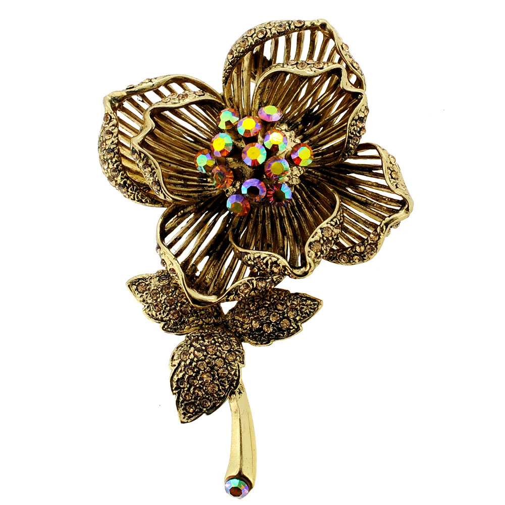 Vintage Style Topaz Brown Flower Brooch Pin by