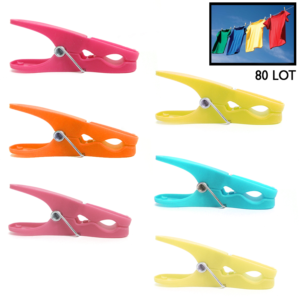 80 Plastic Clothespins Laundry Clothes Pins Large Spring Assorted Color Pegs Lot