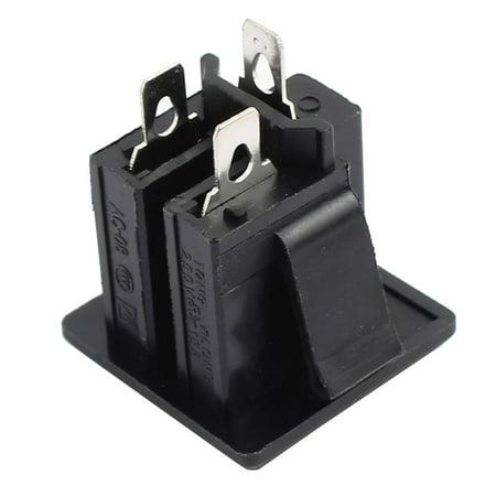 AC 250V 15A US Outlet Panel Mount Power Rewiring Socket Black - image 1 of 2