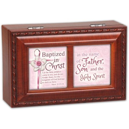- Cottage Garden Batized In The Name Woodgrain Petite Music Box / Jewelry Box Plays Jesus Loves Me