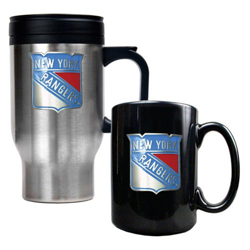 NHL - New York Rangers Standard Travel Mug and Ceramic Mug Set