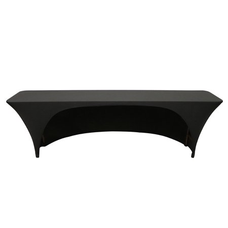 Your Chair Covers - Spandex 8 Ft x 18 Inches Open Back Rectangular Table Cover Black for Wedding, Party, Birthday, Patio, etc. ()