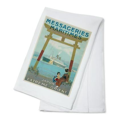 Messageries Maritimes   Japon   Extreme   Orient Vintage Poster  Artist  Hook  France C  1920  100  Cotton Kitchen Towel