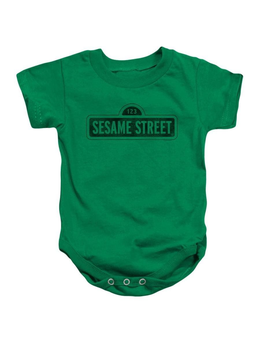 Sesame Street Classic TV Show One Color Dark Logo Infant Romper Snapsuit