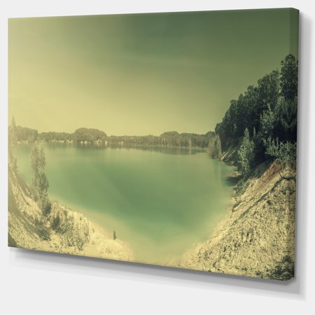 Blurred Sea with Mountain Views - Modern Seascape Canvas Artwork - image 3 of 3