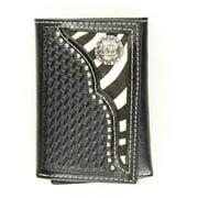 Nocona Belt N5458001 Zebra Print Hair-On Hide Inlay with Cowboy Prayer Concho Tri-Fold Wallet, Black - One Size