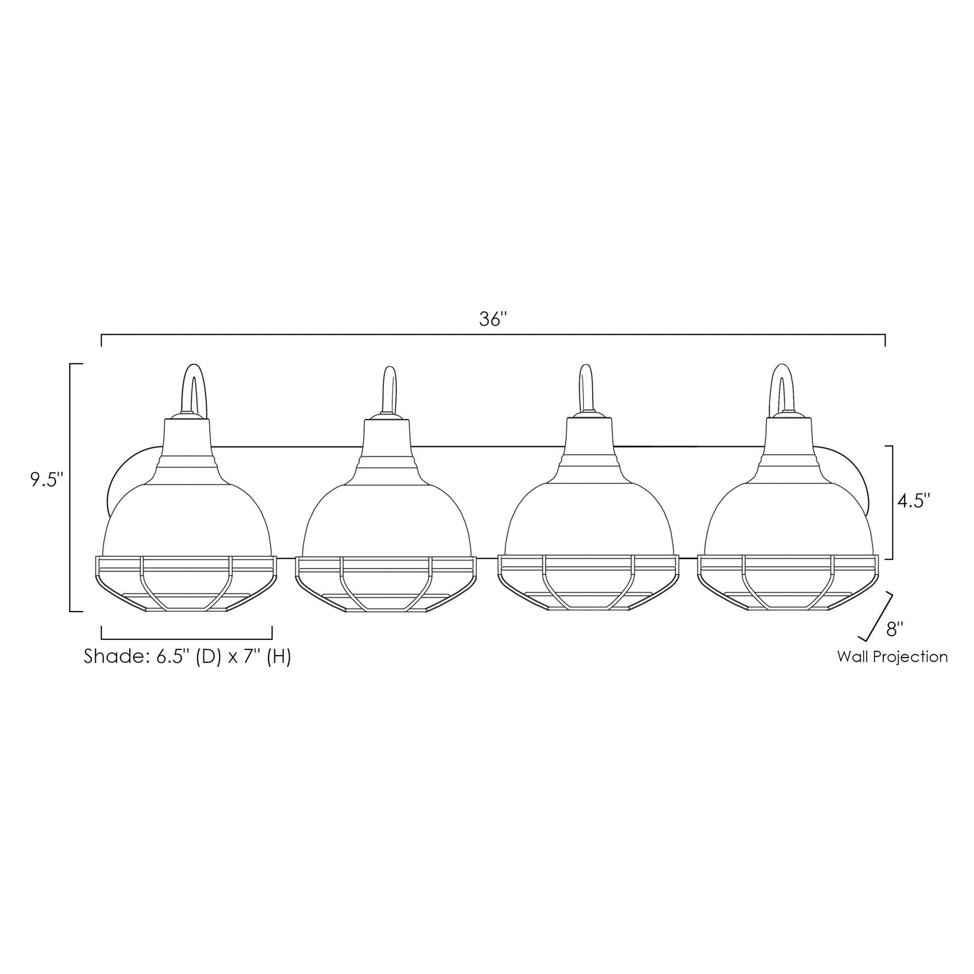 "Brushed Nickel Kira Home Liberty 36/"" 4-Light Industrial Vanity//Bathroom Light"