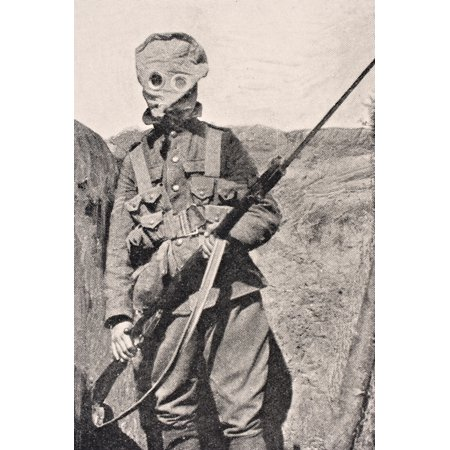 Canadian Soldier Wearing Gas Mask In 1915 From The War Illustrated Album Deluxe Published London 1916 Canvas Art - Ken Welsh  Design Pics (12 x 18)