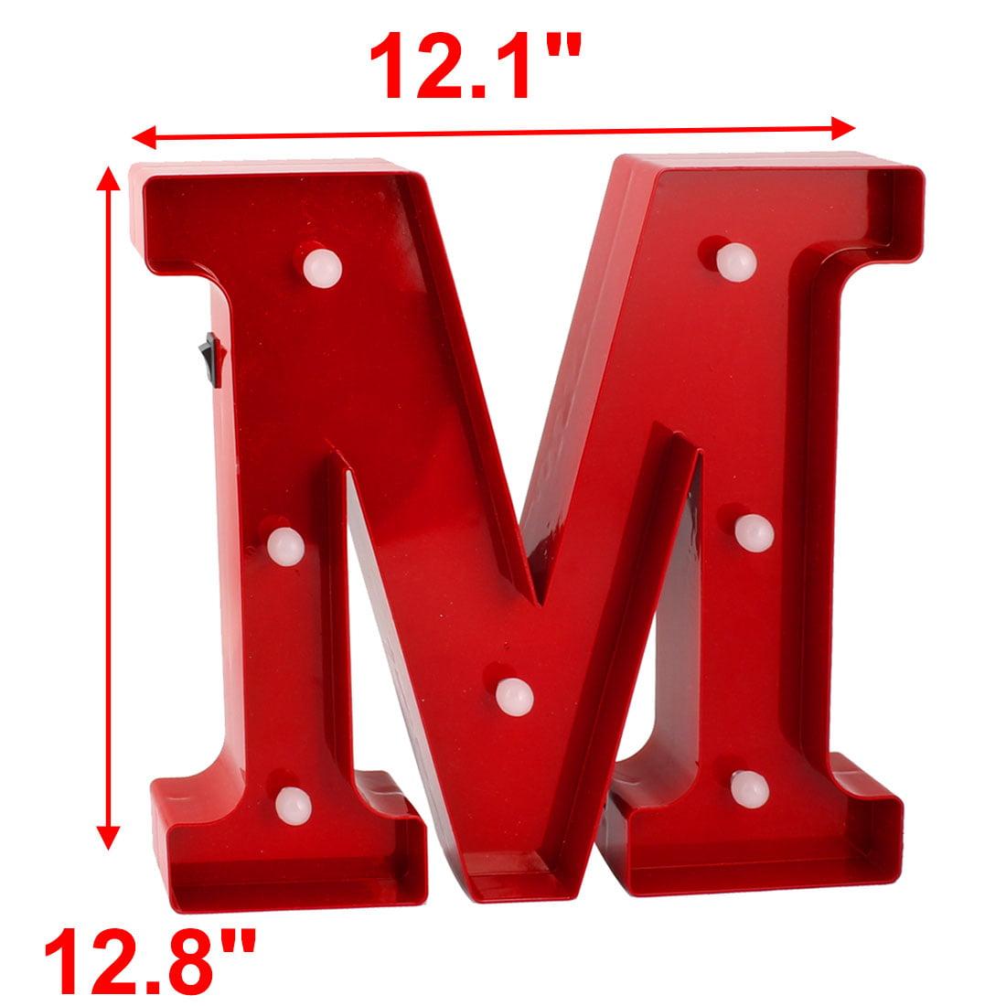 Coffee Shop Plastic Decor English M Letter Alphabet DIY Hanging LED Light Red - image 1 de 4
