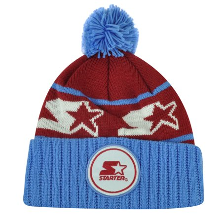 Starter Blank Burgundy Blue Pom Pom Beanie Knit Cuffed Toque Solid Plain Winter ()