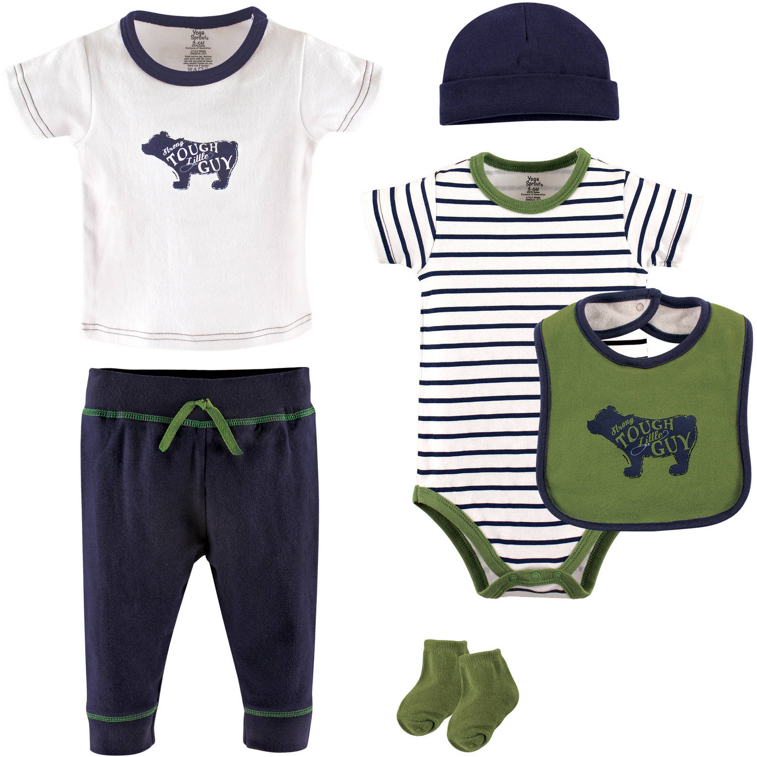 Yoga Sprout Newborn Baby Boys 6pc Layette Set - Bear