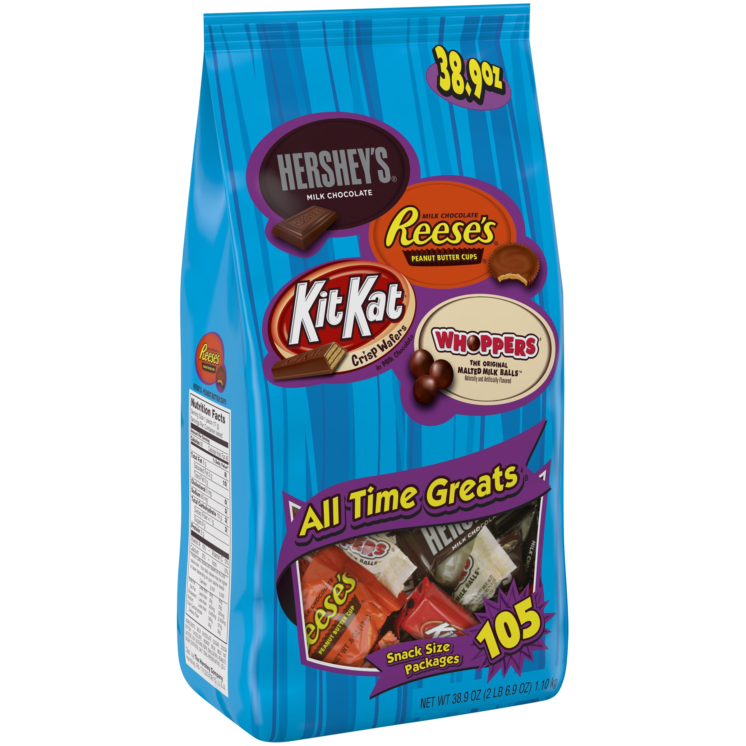 Hershey's All Time Greats Hershey's Reese's Kit Kat Whoppers Candy, 105 ct, 38.9 oz Bag by Generic