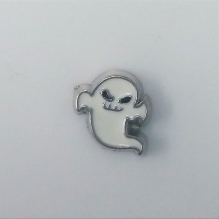 1 PC - Halloween Ghost Enamel Silver Charm for Floating Locket Jewelry F0432 (Floating Ghost)
