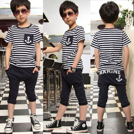 Baby Kids Boys Cool Sailor Clothes Tees T-shirt amp Pants 2pcs Outfits 2~7Y - Sailor Outfit