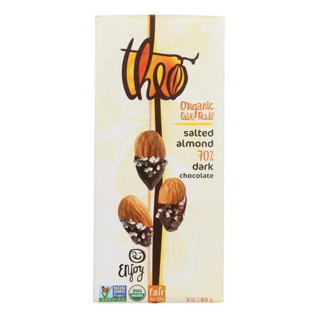 Theo Chocolate 70% Salted Almonds Dark Chocolate Bars, 3 Oz (Bar Dark Chocolate Mocha Almond)