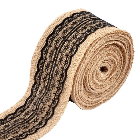 Home Wedding Burlap Lace Belt String Crafting Ribbon Roll Decor Black 5.5 Yards