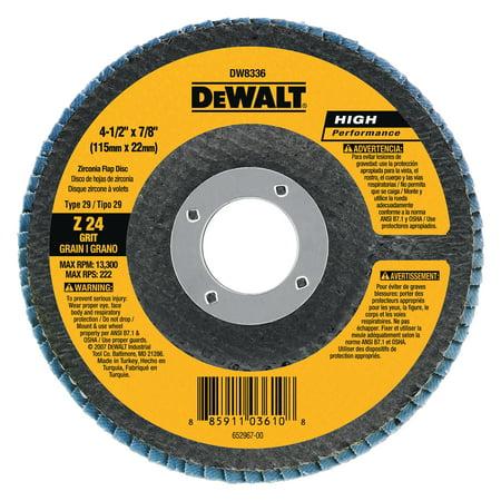 "DeWALT DW8308 - HP 4-1/2"" Type 29 60 Grit Zirconium Flap Disc"
