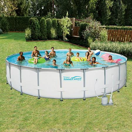 Summer waves elite 24 39 ft metal frame pool set w sand for 24 ft garden pool