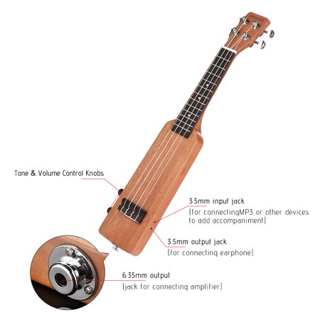 "Ammoon Creative Bottle Shape 21 ""Okoumé Électrique Bois Ukulélé Ukelele Uke Kit avec Tuner Sac de Transport 3.5mm Audio Câble 4pcs Extra Cordes 5pcs Celluloid Picks - image 6 of 7"